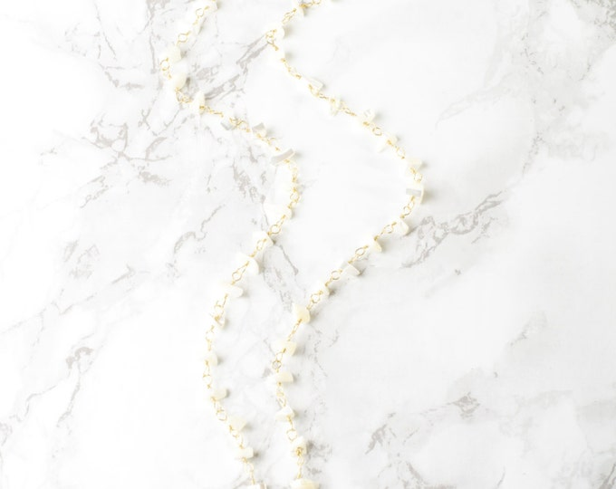 Mother of Pearl and Quartz Crystal Necklace on 14 Kt Gold Filled Chain Necklace