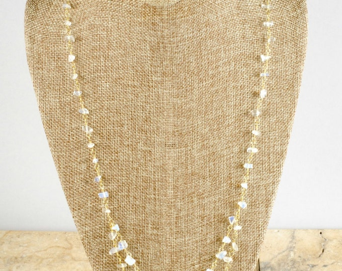 Golden Rainbow Moonstone Necklace