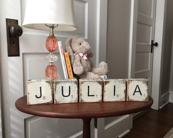 LARGE rustic scrabble letters block signs for nursery or home