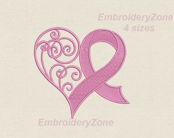 Curlz heart & Pink ribbon machine Embroidery design Breast Cancer Awareness Ribbon hearts embroidery pattern designs. 4 sizes 4x4 5x7 6x10.