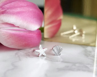 Sterling Silver Starfish and Shell Earrings