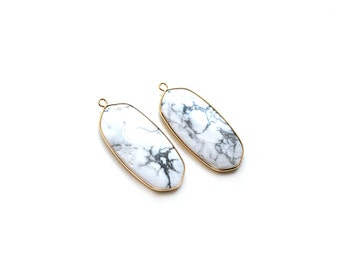 White and Grey Howlite Turquoise Oval Pendant - Gold plated Bezel - 1 pc