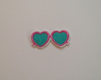 Pink and Blue Heart Shaped Sunglasses Iron on Patch
