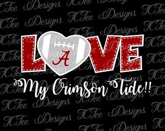 Love Alabama Crimson Tide - College Football SVG File - Vector Design Download - Cut File