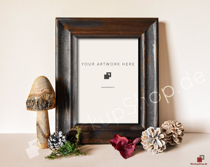 FALL FRAME MOCKUP // Autumn decoration with mushrooms pine cones moss and red hydrangea leaves / Empty Frame Mockup Fall / Fall Mockup Frame