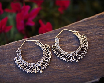 Silver earrings. Hoop earrings ethnic style. Tribal jewelry. Boho