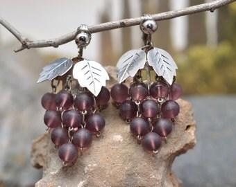 TAXCO Sterling Silver Beaded Grape Clip On Earrings