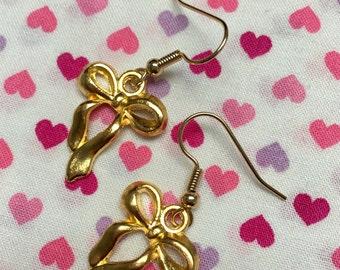 Gold Bow Dangle Earrings