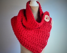 Red Crochet Cowl, Red Scarf, Crochet Cowl, Winter Cowl, Button Scarf, Crochet Shrug, Womens Accessories, Winter Scarf,