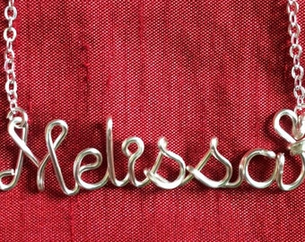 Name Necklace,Melissa necklace,Personalized wedding jewelery,Birthday gift,Bridesmaid necklace,Custom Name necklace
