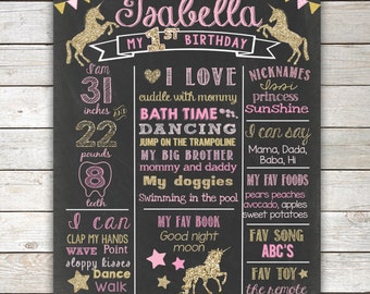 Unicorn  Pink and Gold First Birthday Chalkboard, ANY AGE,Unicorn 1st Birthday Chalkboard Poster,1st Birthday Chalkboard Sign,Printable File
