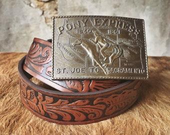 Pony Express vintage leather belt & buckle