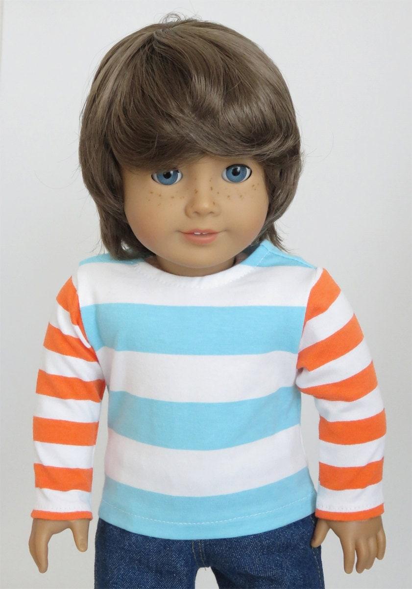 American Girl Boy Doll Clothes Aqua Striped Top With Orange