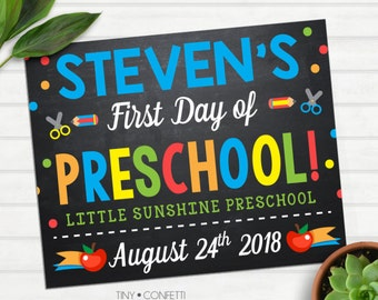 first day of preschool sign printable, first day of school sign, back to school sign, teacher prop, photo prop, chalkboard, personalized