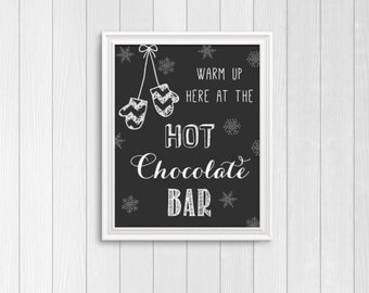 Hot Chocolate Bar Sign, Hot Cocoa Bar sign, Warm up here at the hot chocolate bar, christmas party sign, holiday party decor, xmas decor