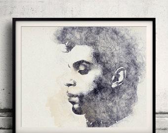 Prince portrait 02 in pen & watercolor - Fine Art Print Glicee Poster Gift Illustration Artist Poster - SKU 2130