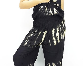 Jumpsuit Pants strapless/spaghetti strap Jumper Hippie Overalls Rayon Tie Dyed Jinny pants Maternity Casual Summer Colorful plus size