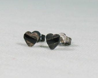 Sterling Heart with Black Diagonal Inlay Stripe Stud Earrings