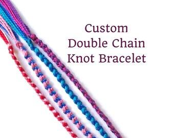 Custom String Bracelet, Friendship Bracelet, Double Chain Knot Bracelets, Best Friend Jewelry, Thread Bracelet, Friendship Bracelet Set