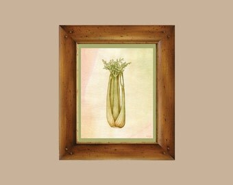 Celery Watercolor - Mirepoix Print on Fine Art Paper - Giclee Print - Fresh Vegetable Series