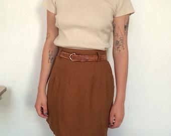 80s Vintage Camel Brown Skirt