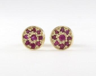 Ruby Stud Earrings, Studs Earrings, Small Earrings, Ruby Earrings, Holiday Gift, Ruby Studs Gold
