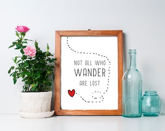 60% OFF SALE - Not All Who Wander Are Lost - 8x10, Inspirational Quote, Printable Art, Inspirational Art, Tolkien Quote, Wall Art