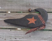 Primitive Crow with Star - Solid Wood - Handmade - Wall Hanging - OFG, FAAP, HAFAIR, TeamHaHa