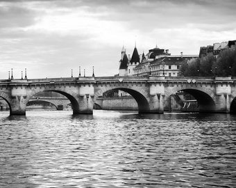 Paris photography, black and white photography, Seine, bridge, architecture, French wall art, Paris decor, home decor, fine art print
