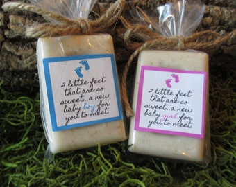 Baby Shower Favor Soap Footprint Oatmeal Honey Organic Soap Baby Shower Soap Favor Shower Its a Girl Its a Boy Favor Soap Natural Gift Soap