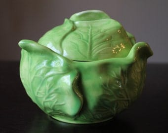 Vintage Green Cabbage Bowl with Lid - Holland Mold