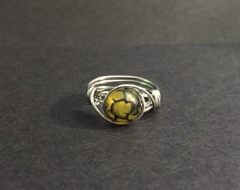 Yellow Dragon's Vein Agate Wire Wrapped Ring