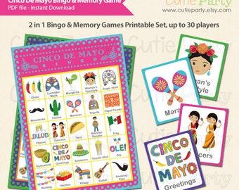 Cinco De Mayo Bingo & Memory Game, Printable Cinco De Mayo Bingo Game, 2 in 1 Cinco De Mayo Party Game Bingo and Memory Game