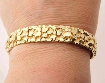 14K Yellow Gold Nugget Bracelet 8 Inches