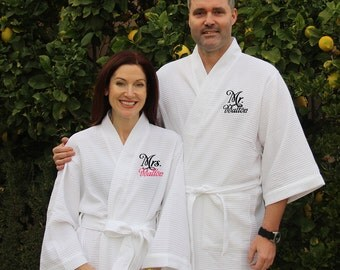 Set of 2 Monogrammed Mr. & Mrs. Waffle Robes, Wedding Robes, Honeymoon Robes, Mr. and Mrs. Robes, Bride and Groom Robes