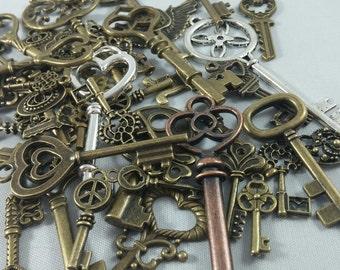 Random Key Assortment / Mystery Grab Bag of 10 Key Charms, Pendants