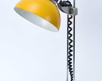 Vintage Mid Century Modern Yellow and Chrome Desk Bedside Table Lamp