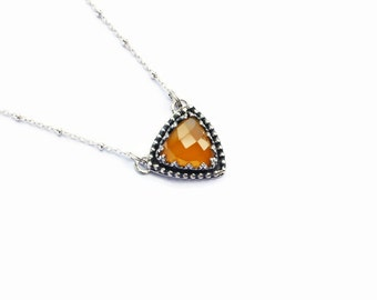 Mango Chalcedony Trillion Necklace, triangle necklace, sterling necklace, yellow necklace, designer necklace, anniversary necklace, bridal