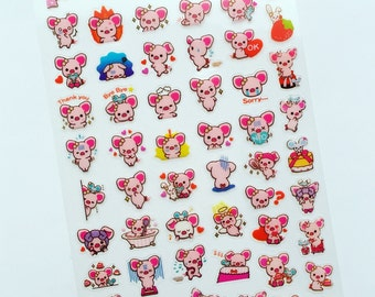 Pig Mini Stickers, Kawaii Deco Stickers, Piggy Diary Stickers, Scrapbooking Sticker, Card Embellishment, Korean Stickers, Reward Stickers