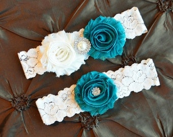 Wedding Garter Set, Bridal Garter Set, Ivory Lace Garter, Keepsake Garter, Toss Garter, Shabby Teal  Wedding Garter Set