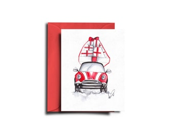 Christmas card, Holiday card, Gifts on car card, Seasonal card, Xmas card, Christmas art, Christmas stationery, Greeting card, Holiday art