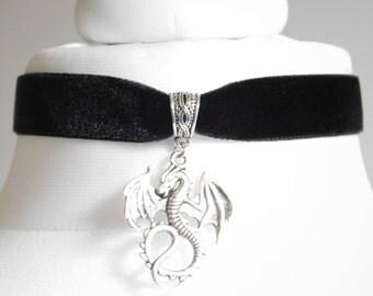 Black Velvet 16mm Dragon Choker Necklace - Gothic