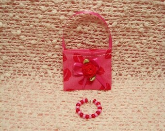 Barbie Doll Purse - Red Lips print Purse with Red & Pink Necklace
