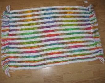 Southwestern Multi-color Striped Kitchen Rug - Hand Knit