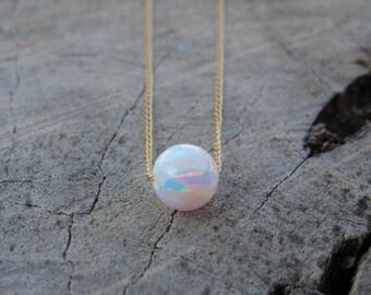 Opal necklace, Opal jewelry, large opal ball necklace, opal gold necklace, 14K gold filled dot necklace, opal bead necklace