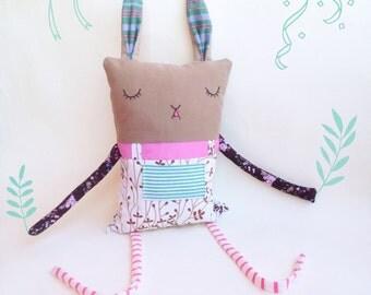 Shy Bunny handmade toy and pillow by Damaja Handmade
