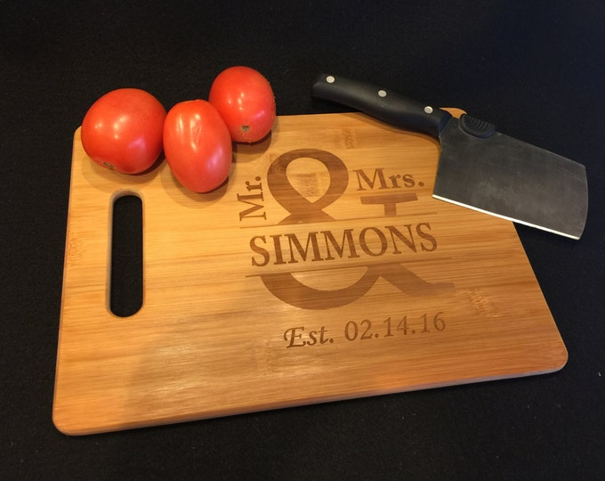 Engraved Cutting Board, Personalized Engraved Bamboo Kitchen Cutting Board, Mr & Mrs Anniversary Gift, Cheese Board, Wedding Housewarming