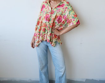 SALE! Slouchy Yellow Short Sleeve Blouse with Pink Floral Pattern