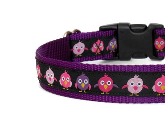 Cute Pink & Purple Chicks/Baby Birds Girl Dog Collar (Buckle or Chain Martingale)