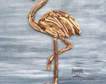 Driftwood Flamingo Coastal Wall Decor